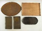 盆 5枚 銘在り 秀峯堂造等 銅製 煎茶盆 煎茶道具