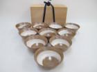 数茶碗 10客 義祟窯造 古曽部焼 刷毛目茶碗